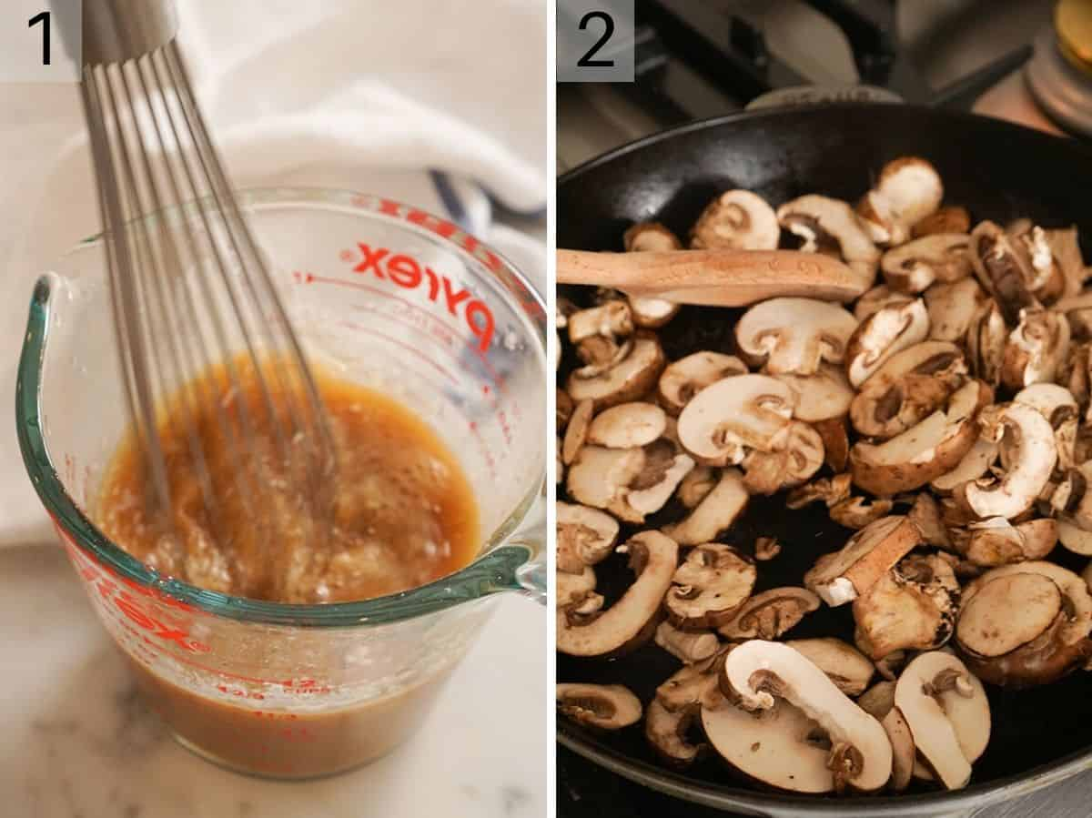 Two photos showing how to create a sauce and fry mushrooms for moo goo gai pan