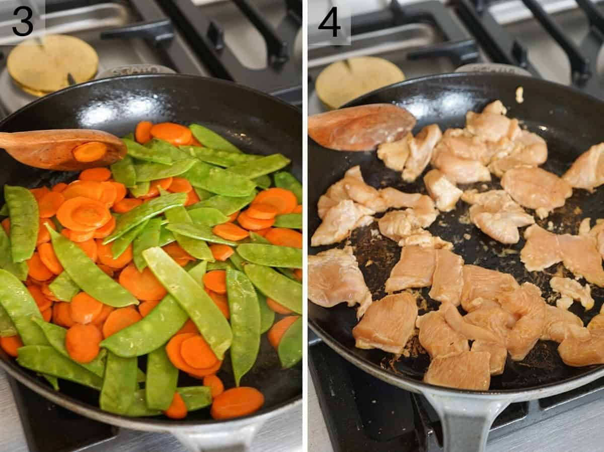 Two photos showing how to stir fry vegetables and chicken