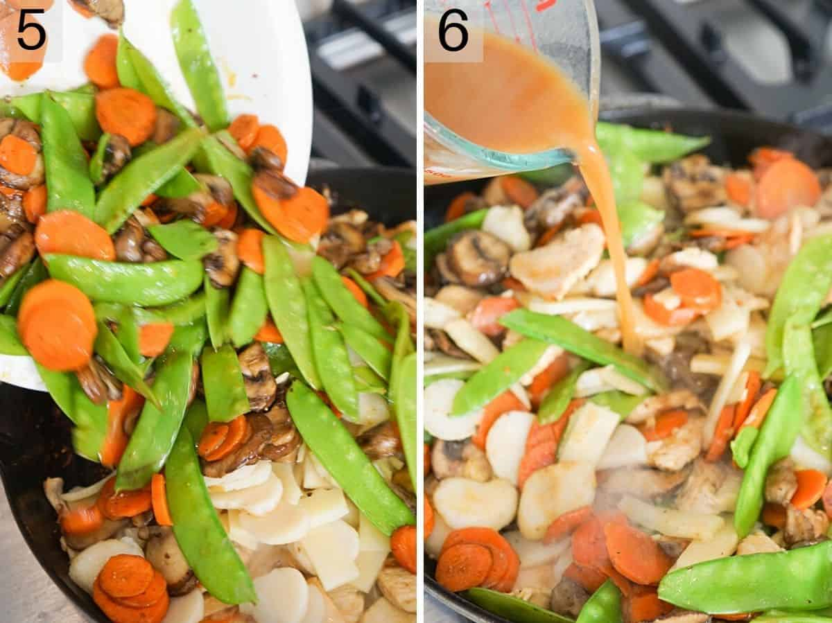Two photos showing the final steps of making moo goo gai pan