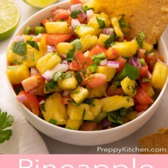 A pinterest graphic of pineapple salsa