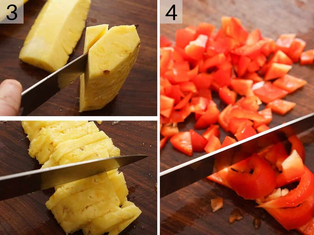 Chopped up pineapple and red pepper