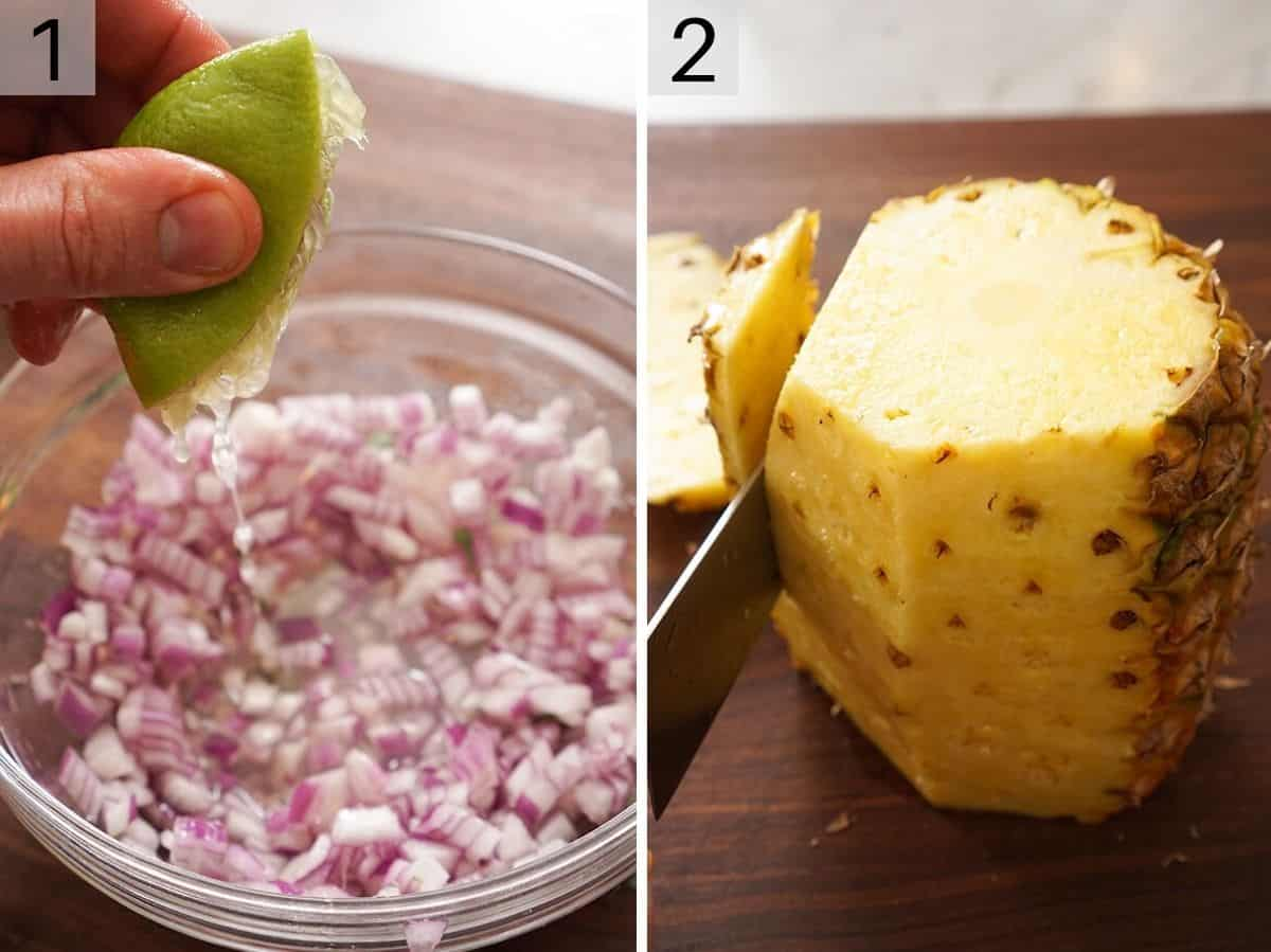 Chopped up red onion and a photo showing how to cut a pineapple