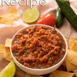 A Pinterest graphic of homemade salsa