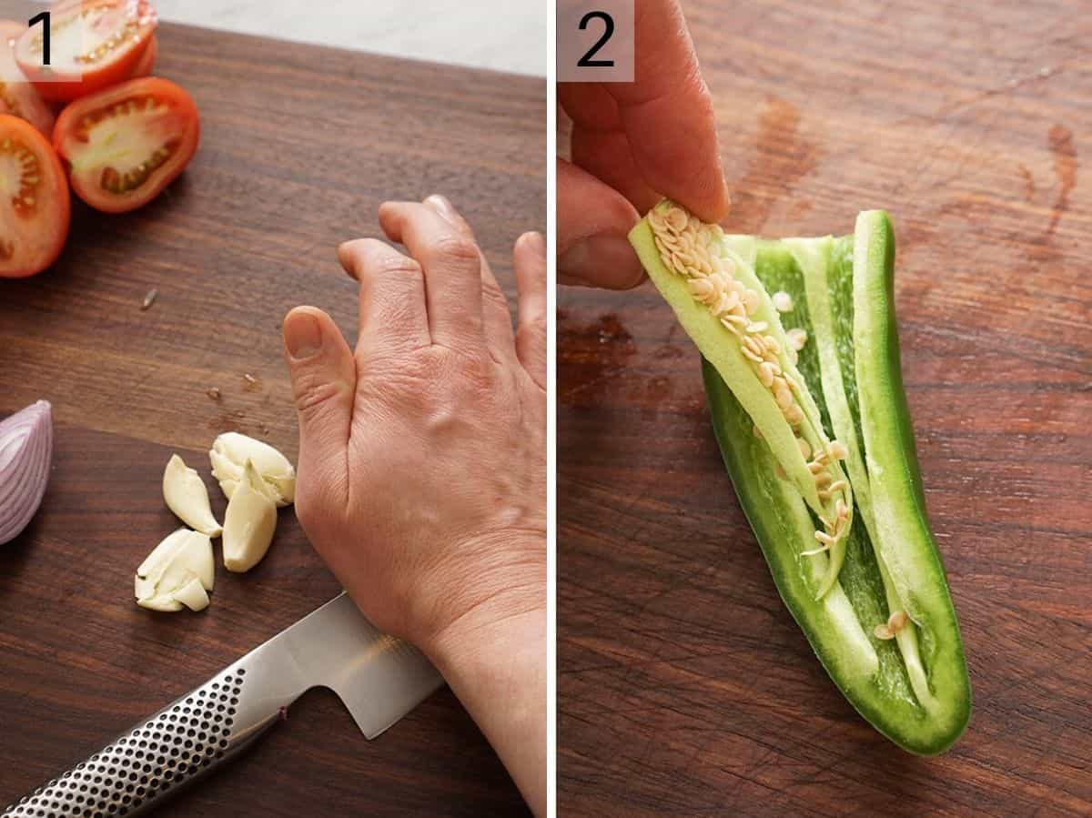 Two photos showing how to chop garlic and deseed a jalapeno pepper