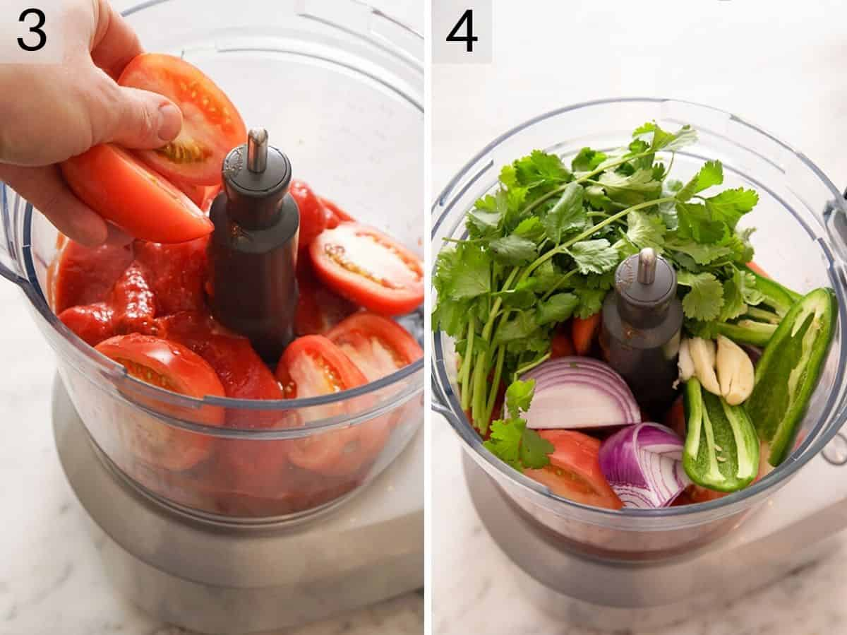 All ingredients in a food processor for making salsa