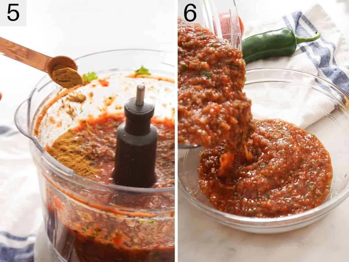 Blitzed up salsa in a food processor