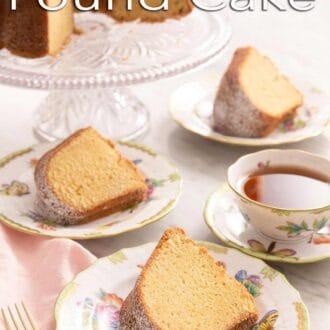 A pinterest graphic of a sour cream pound cake