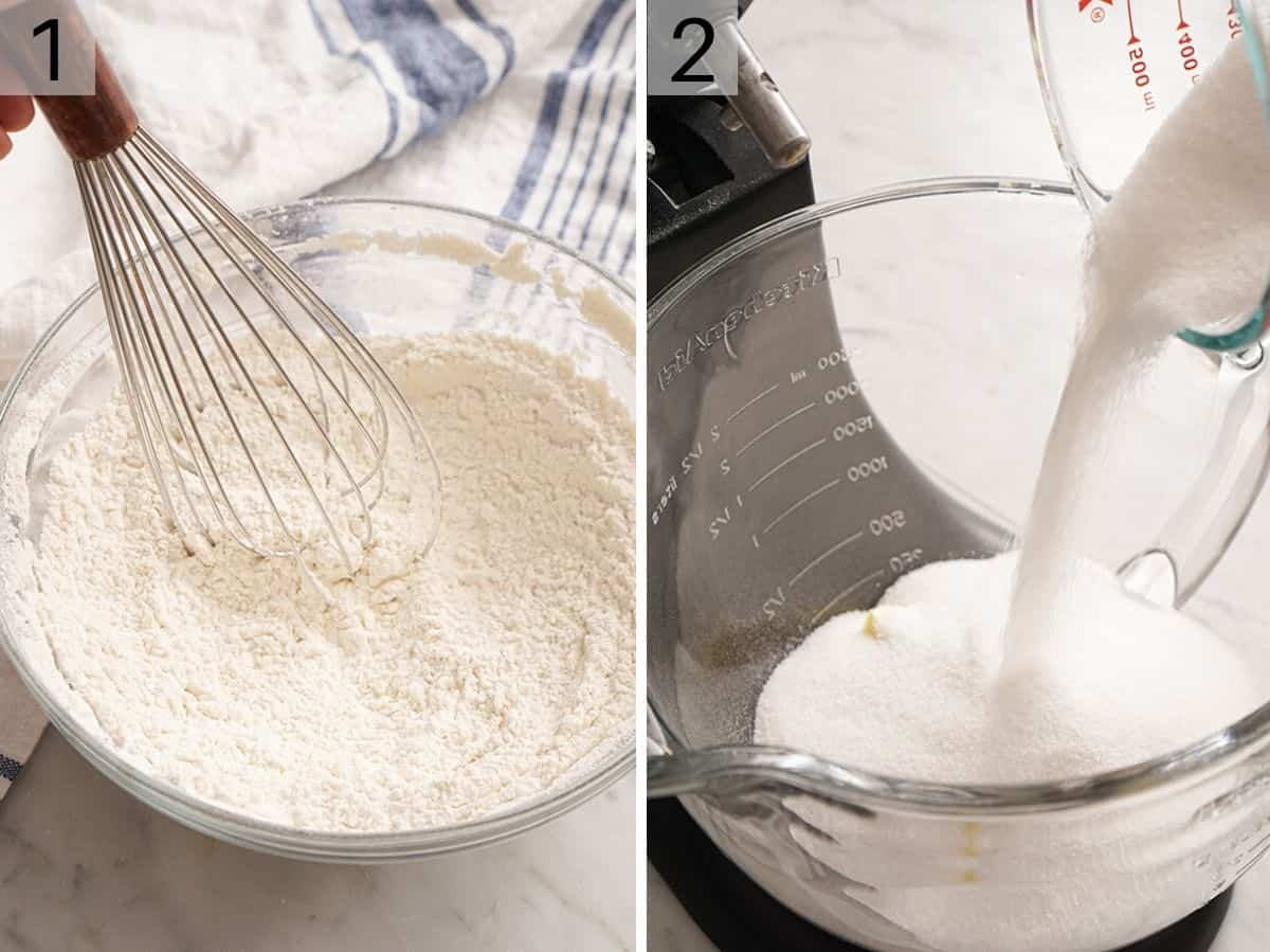 Two photos showing flour in a mixing bowl and sugar and butter in another bowl