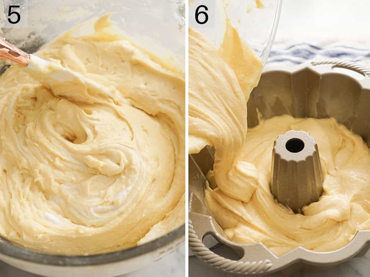 Cake batter getting poured into a cake pan