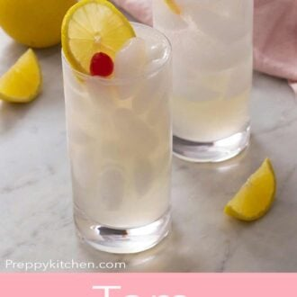 A Pinterest graphic of a Tom Collins cocktail
