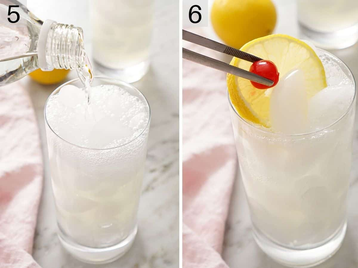 Adding garnishes to a tom collins cocktail