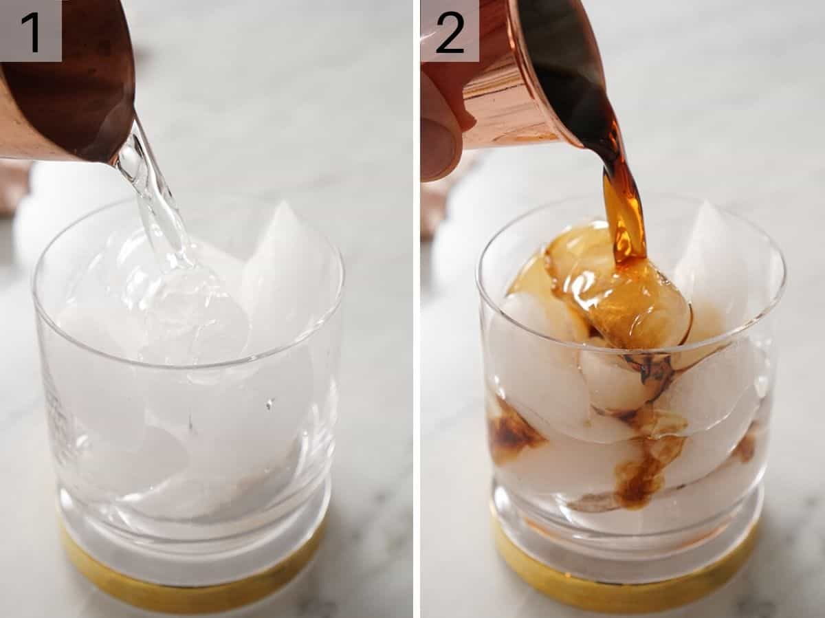 Pouring vodka and kahlua into a cocktail glass filled with ice