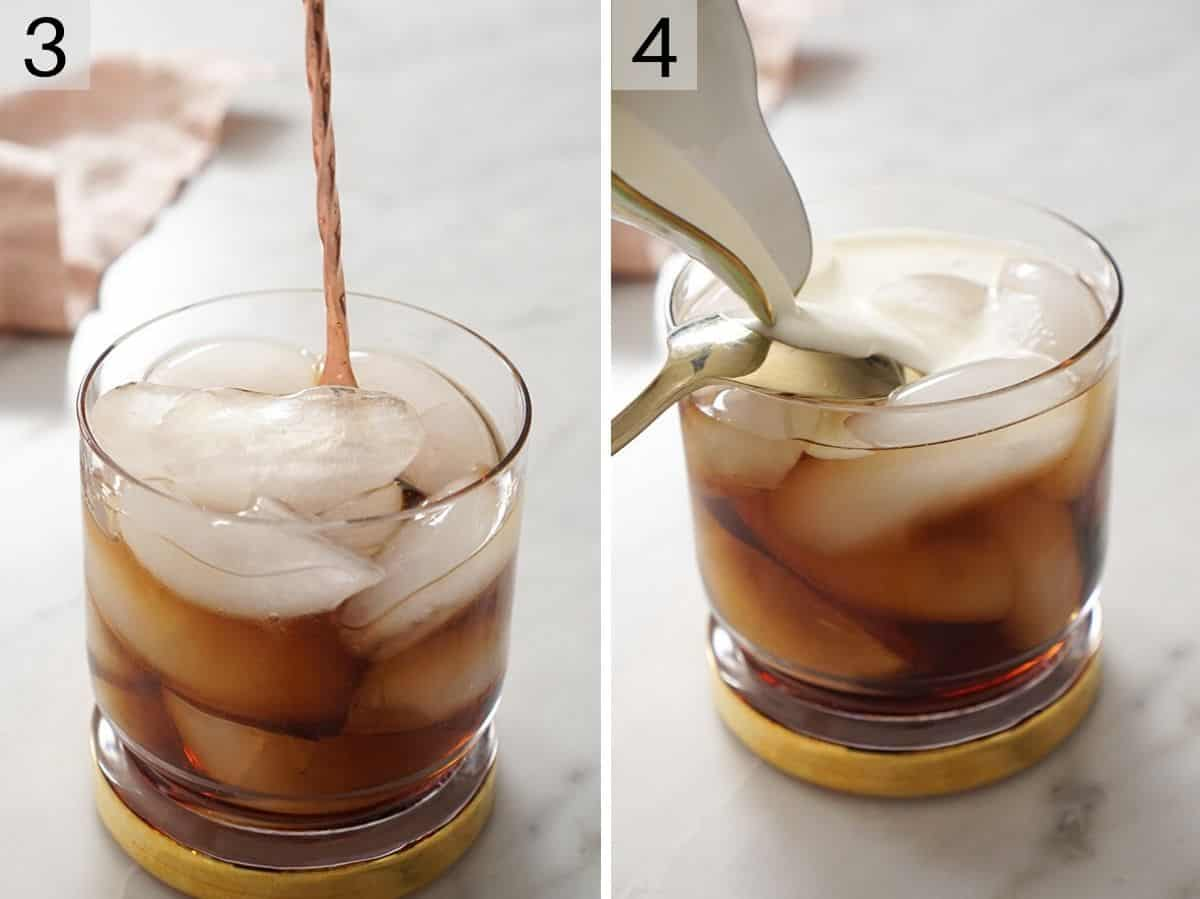Add cream to a White Russian cocktail