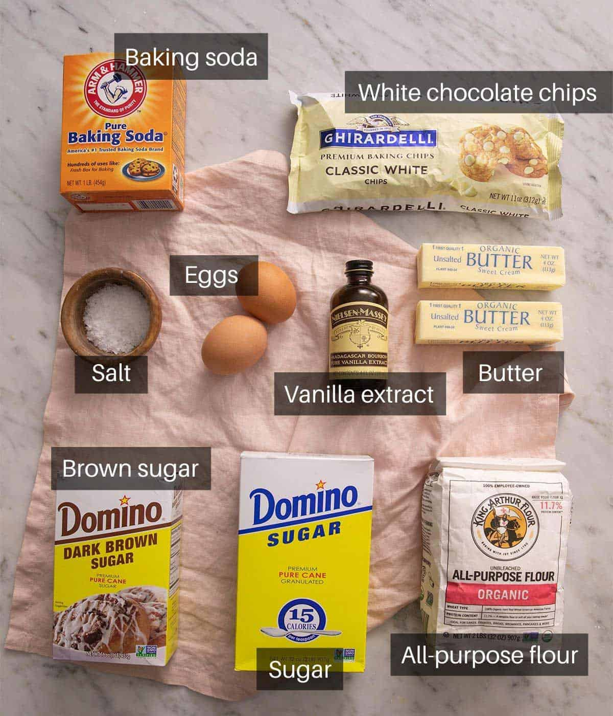 An overhead shot of all the ingredients you need to make white chocolate chip cookies