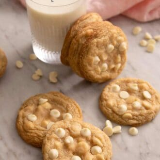 A pinterest graphic of white chocolate chip cookies