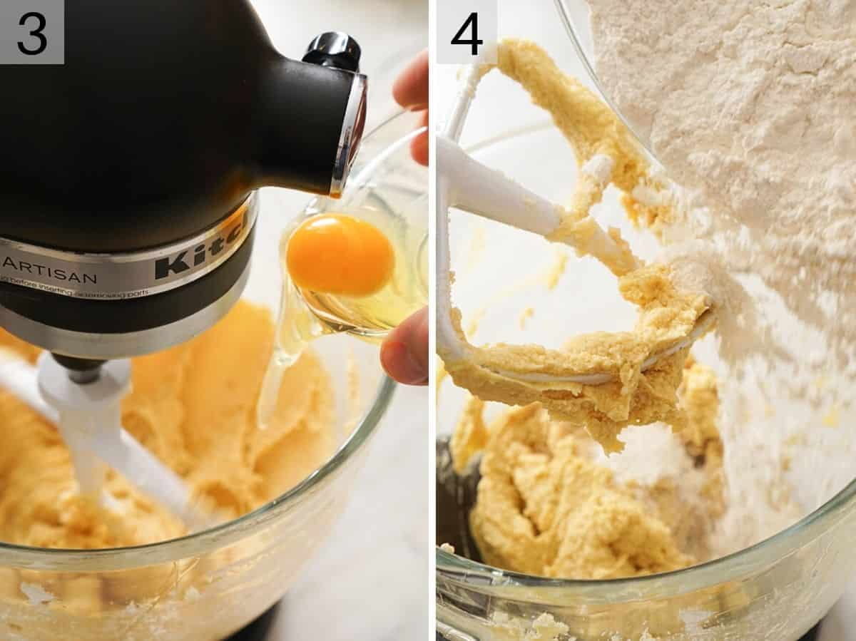 Adding eggs and flour to beaten butter and sugar