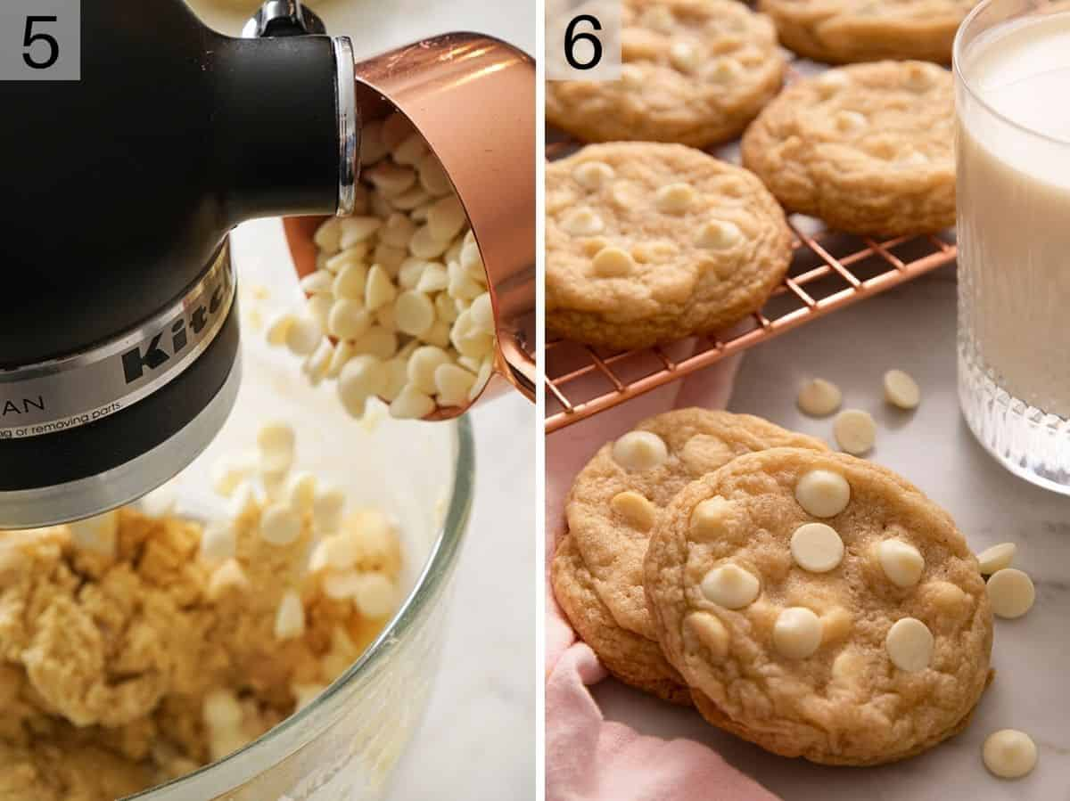 Adding white chocolate chips to batter and baked cookies on a cooling rack
