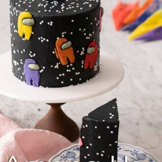 A pinterest graphic for an Among Us Cake