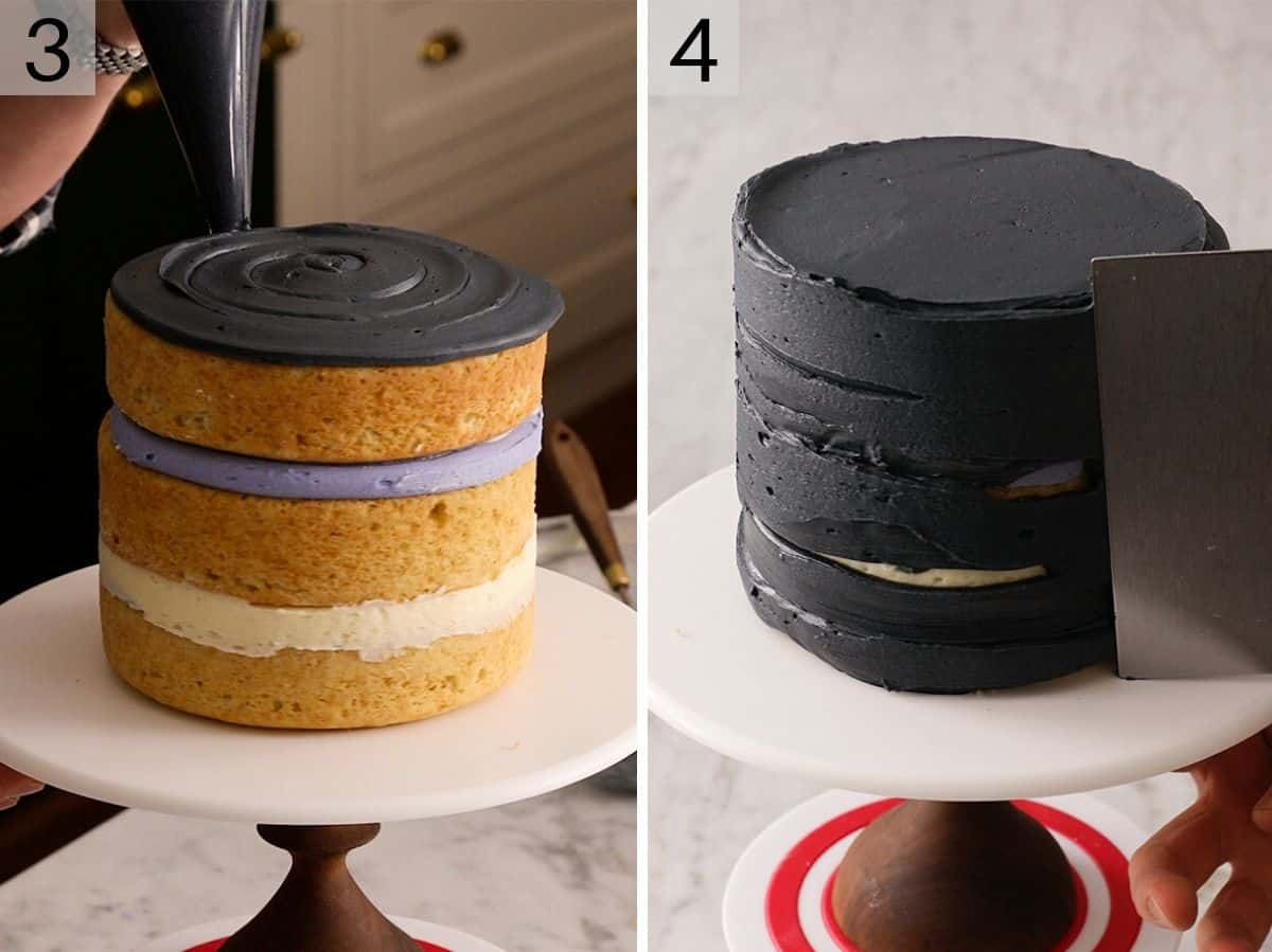 Two photos showing how to cover a cake in black frosting