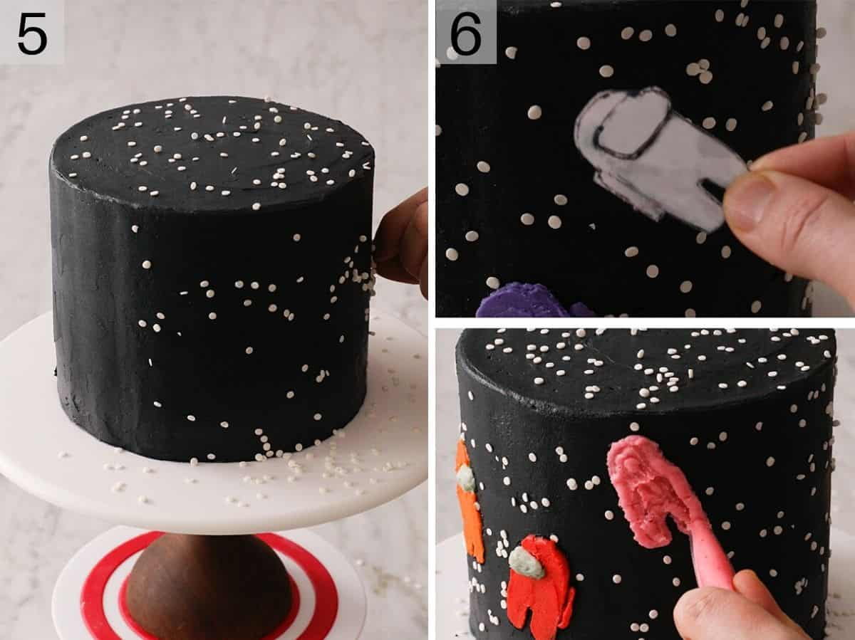 Two photos showing how to decorate an among us cake