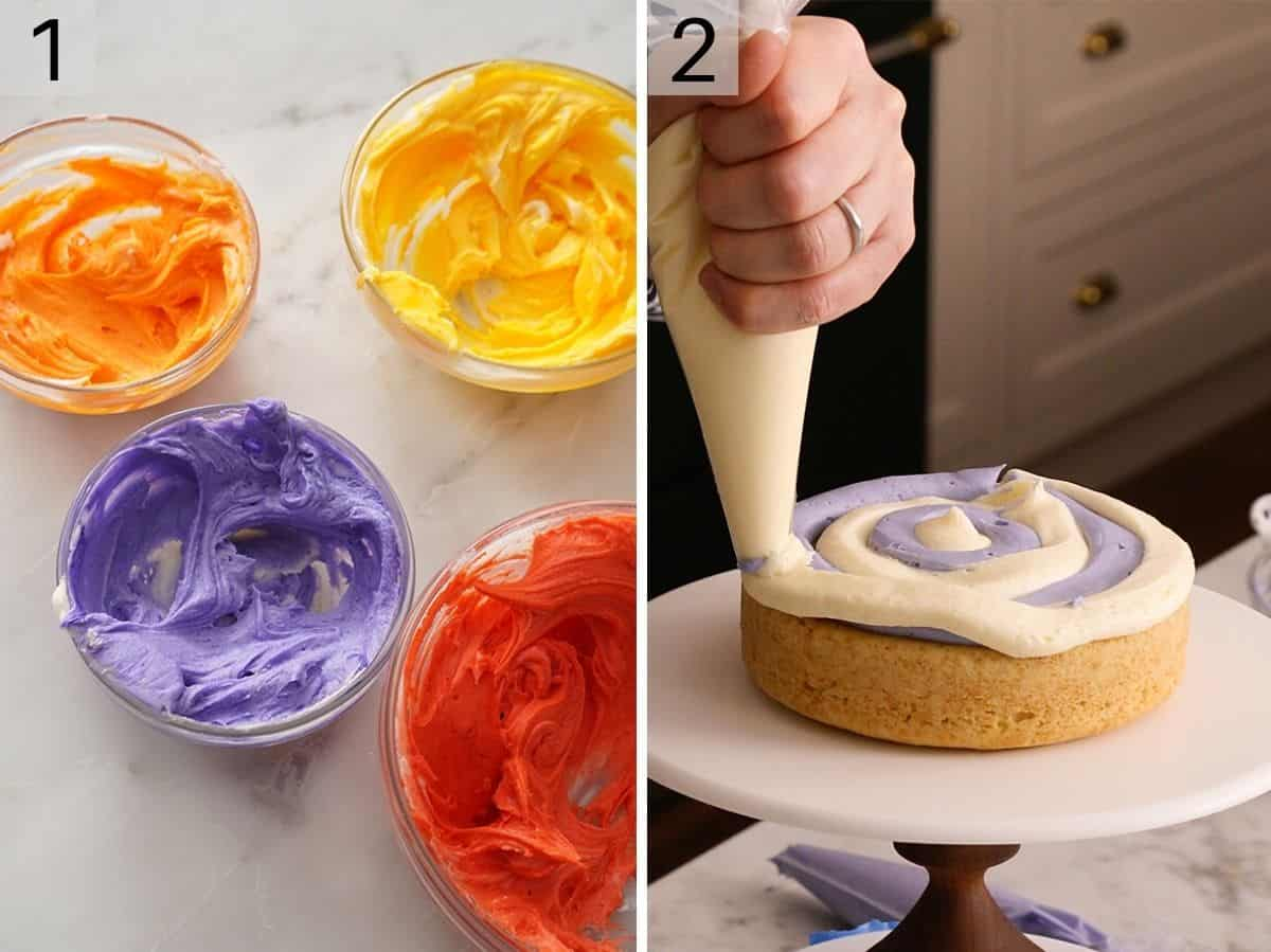 Different colored buttercream in bowl and a hand piping it on a cake