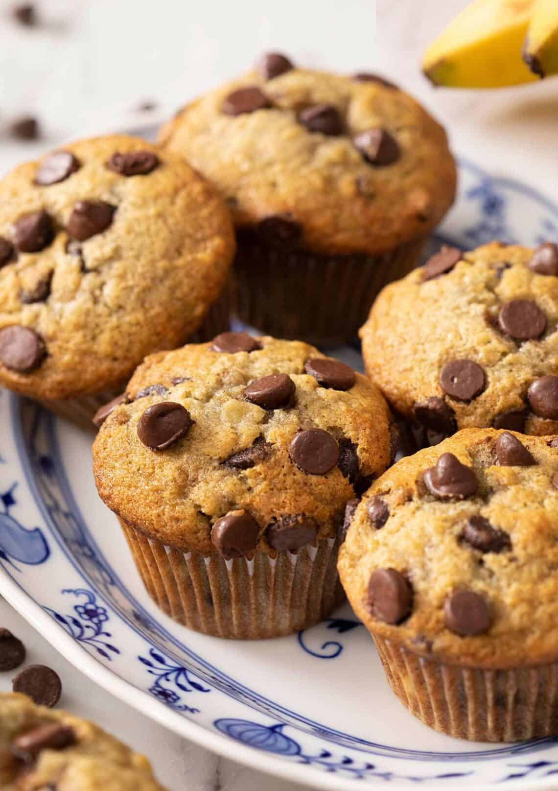 A close up of banana chocolate chip muffins