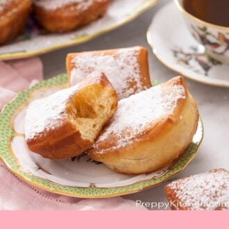 A pinterest graphic of Beignets