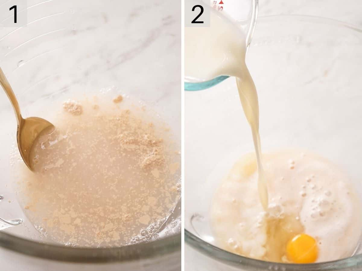 Two photos showing to begin making beignets by activating yeast