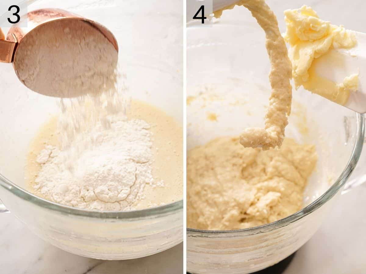 Two photos showing how to make dough for beignets