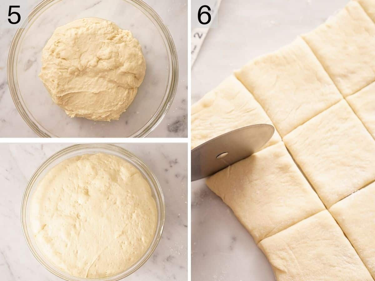 Two photos showing risen beignet dough and how to cut them into squares