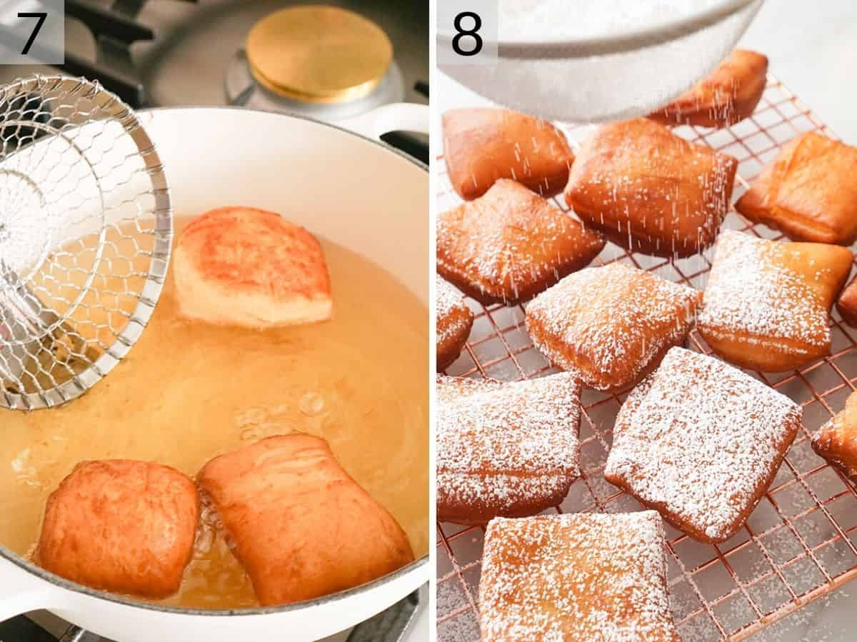 Two photos showing how to fry beignets