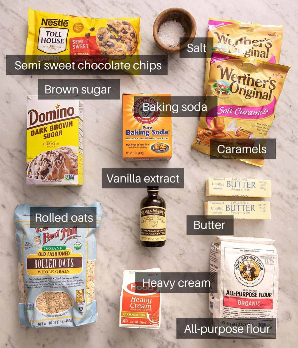 An overhead shot of all the ingredients you need to make Carmelitas