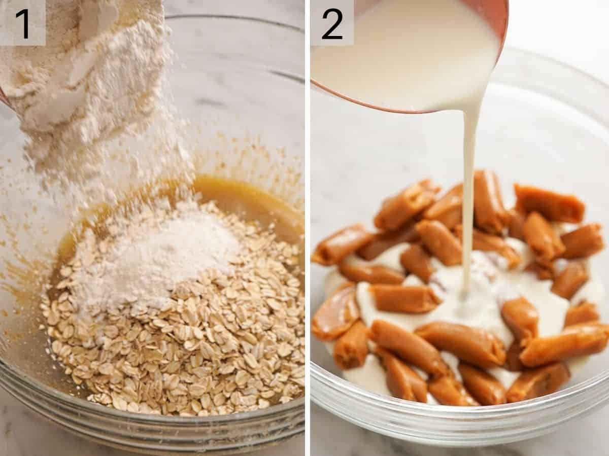Rolled oats and sugar in a bowl and caramels and cream in another bowl