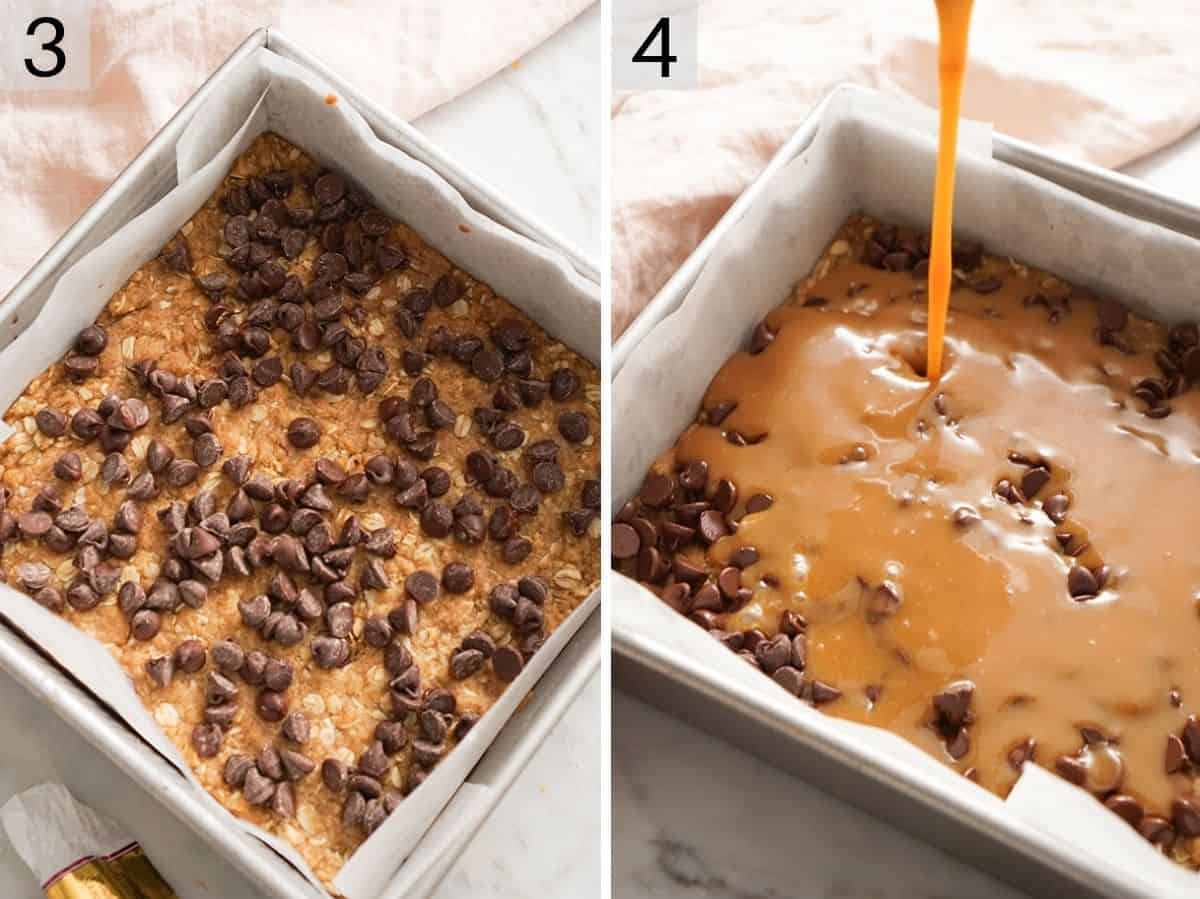 Two photos showing how to make Carmelitas