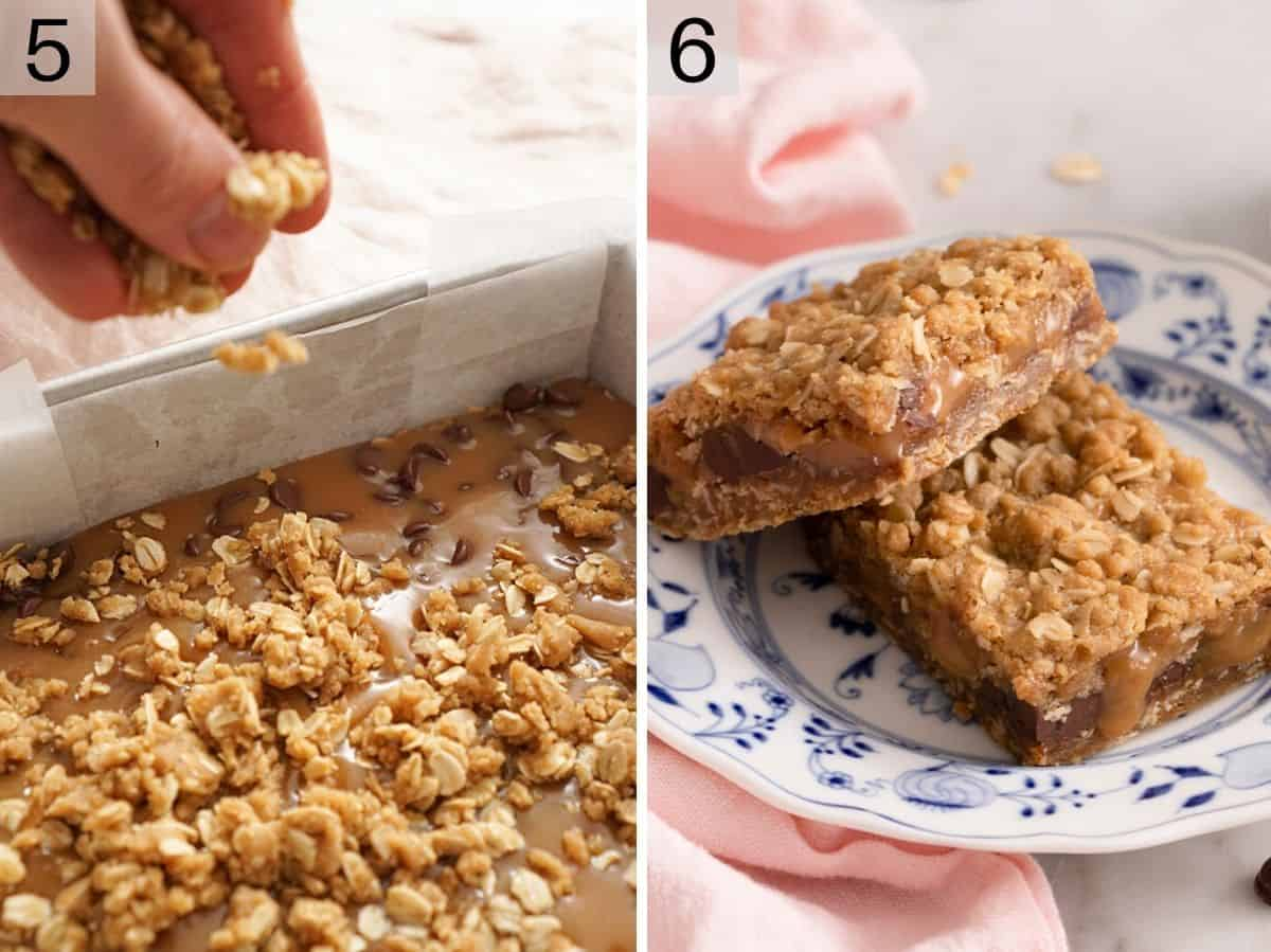 Two photos showing Carmelitas before and after baking