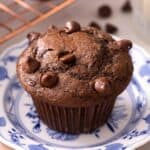 A close up of a chocolate muffin