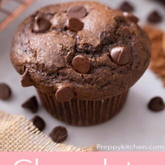 A pinterest graphic of chocolate muffins
