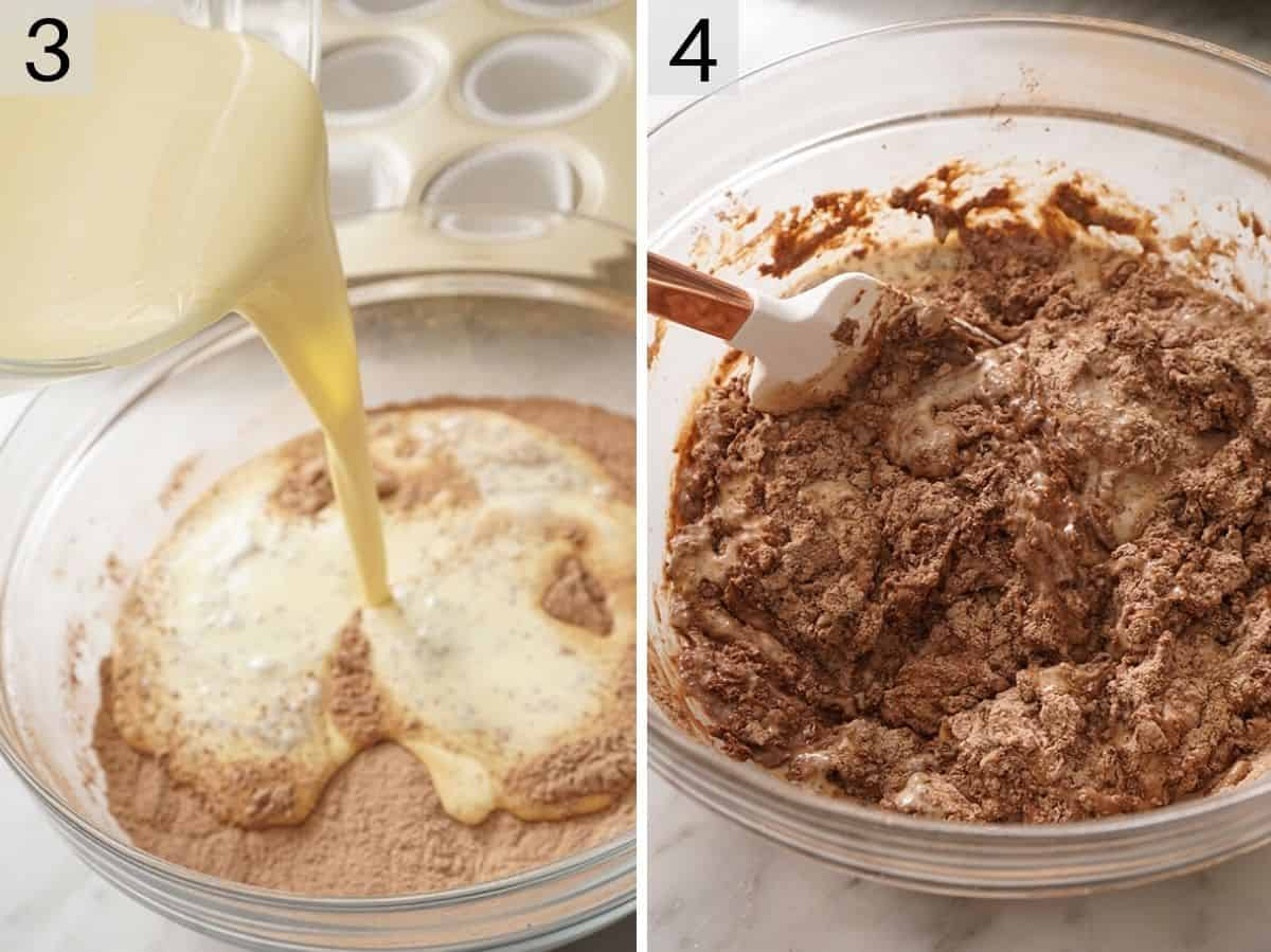 Two photos showing how to make chocolate muffins batter