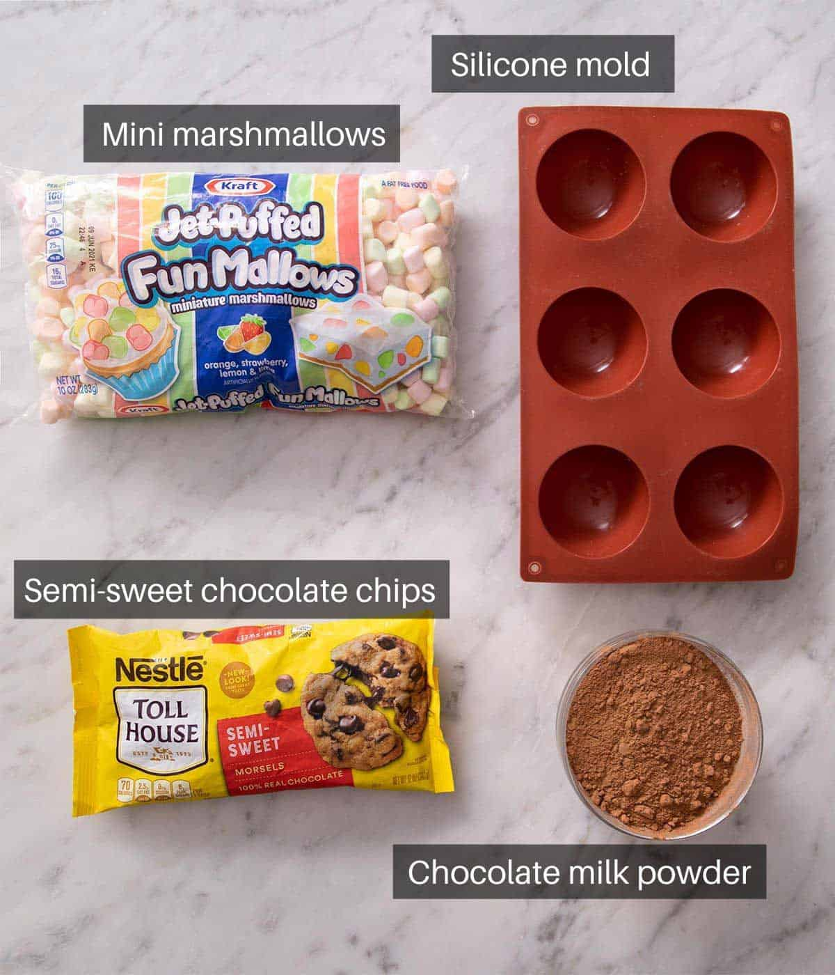 An overhead shot of all the ingredients you need to make hot chocolate bombs