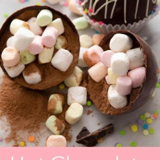 A pinterest graphic of hot chocolate bombs