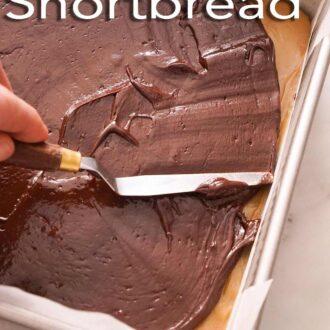 A pinterest graphic of Millionaire's shortbread