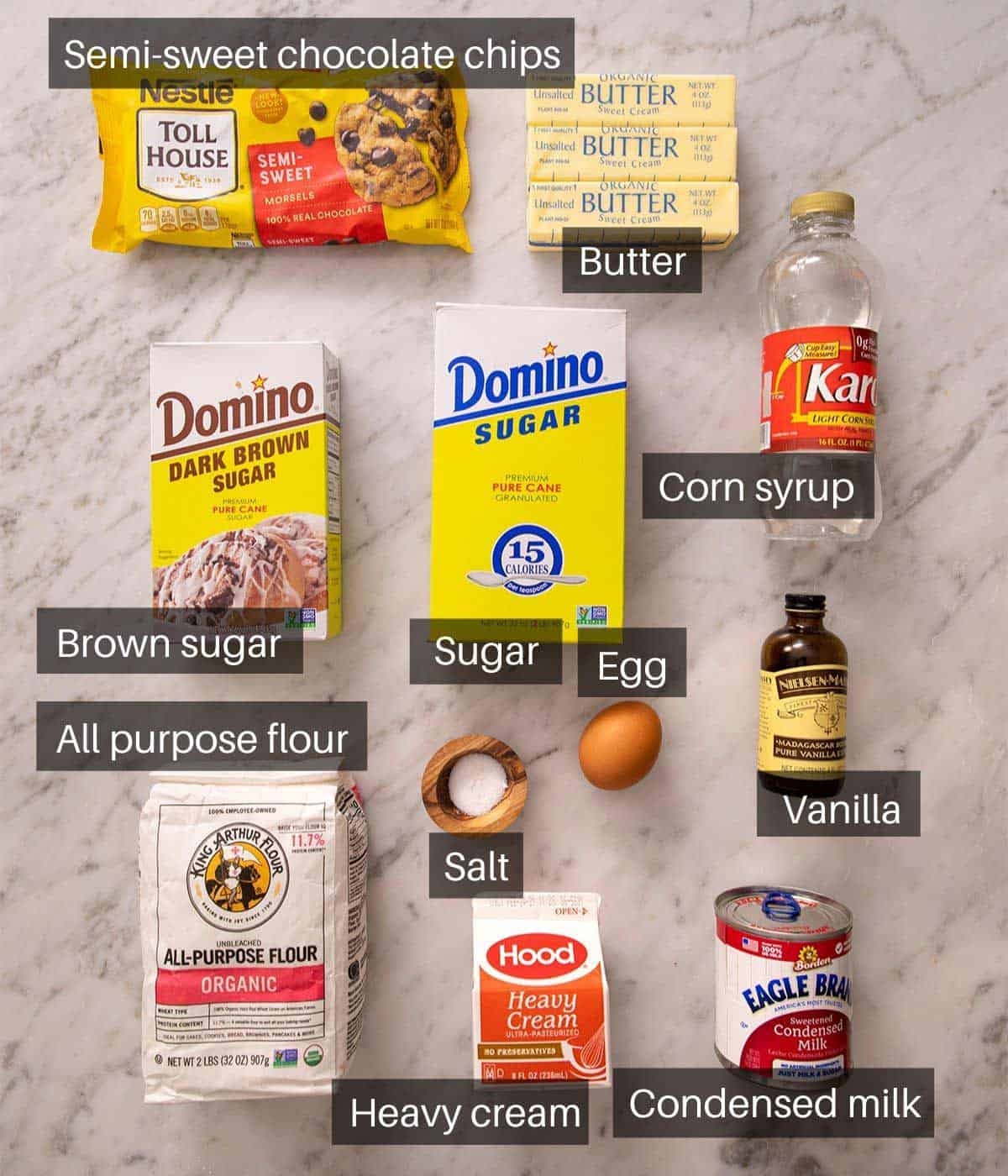An overhead shot of all the ingredients you need to make Millionaire's shortbread
