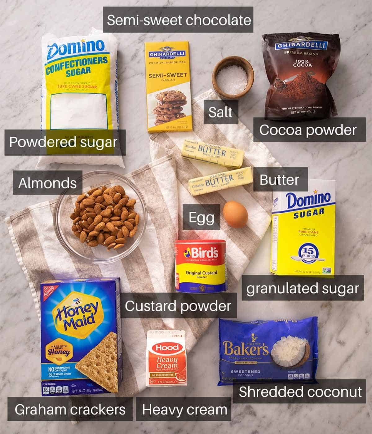 An overhead shot of all the ingredients you need to make Nanaimo bars