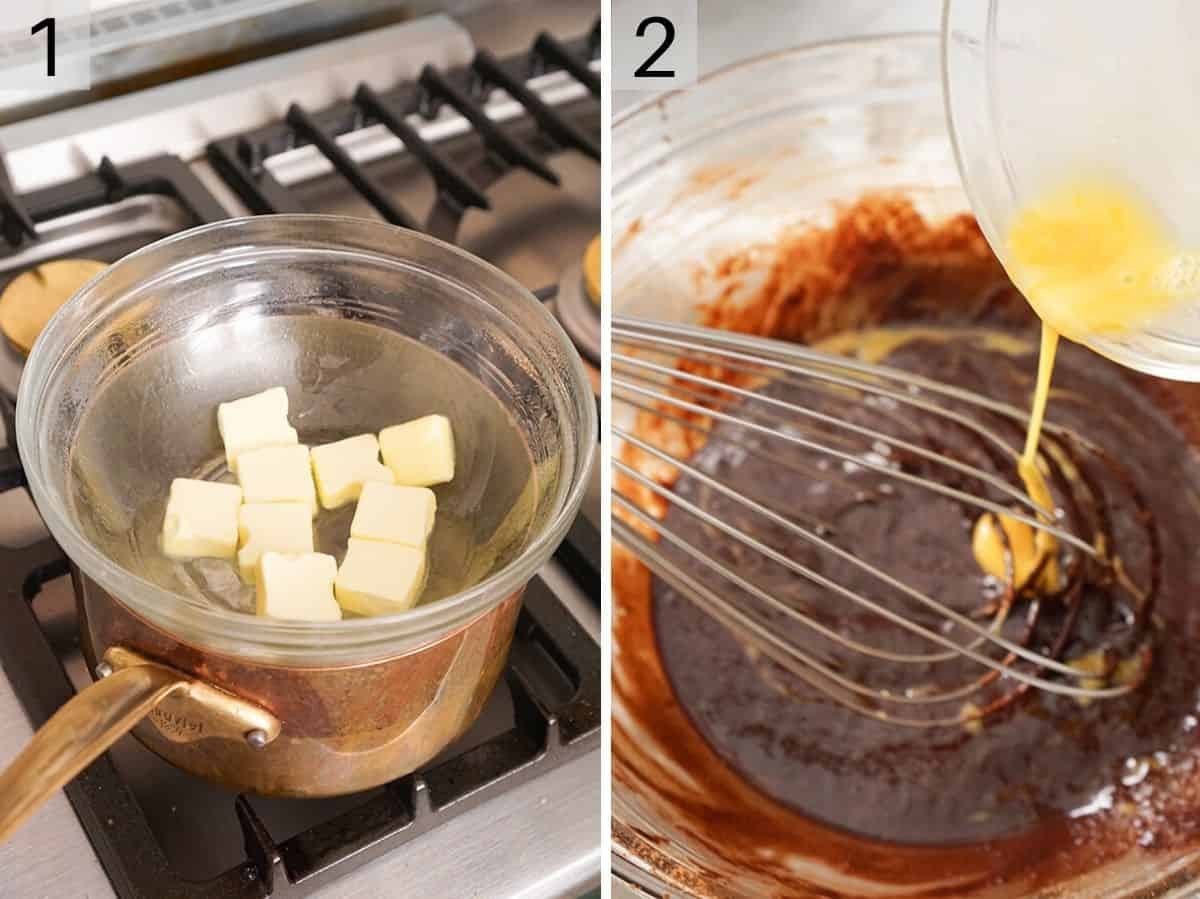 Two photos showing how to melt butter and chocolate in a double boiler