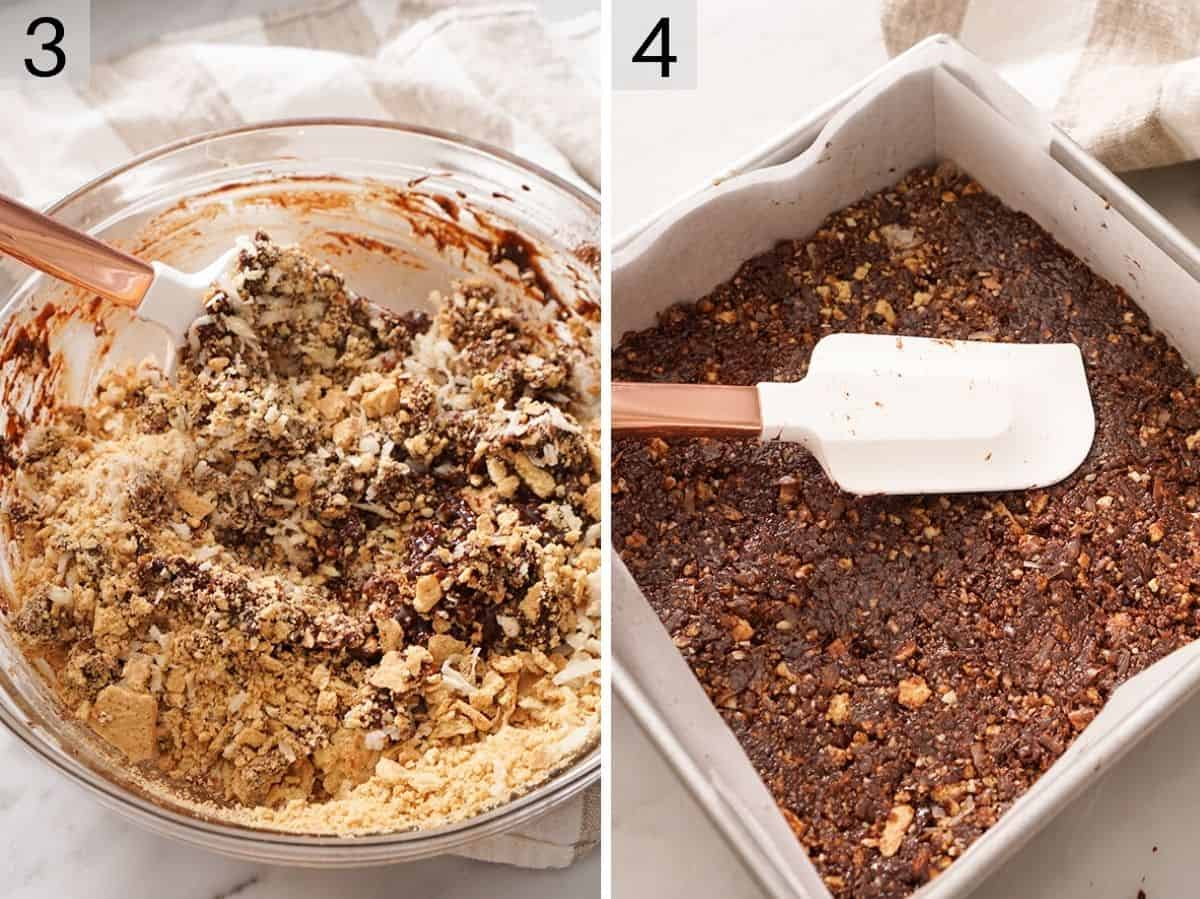 Two photos showing how to make the bottom layer of Nanaimo bars