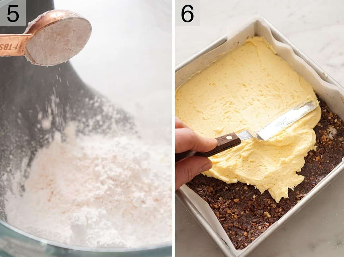 Two photos showing how to make the middle layer of Nanaimo bars