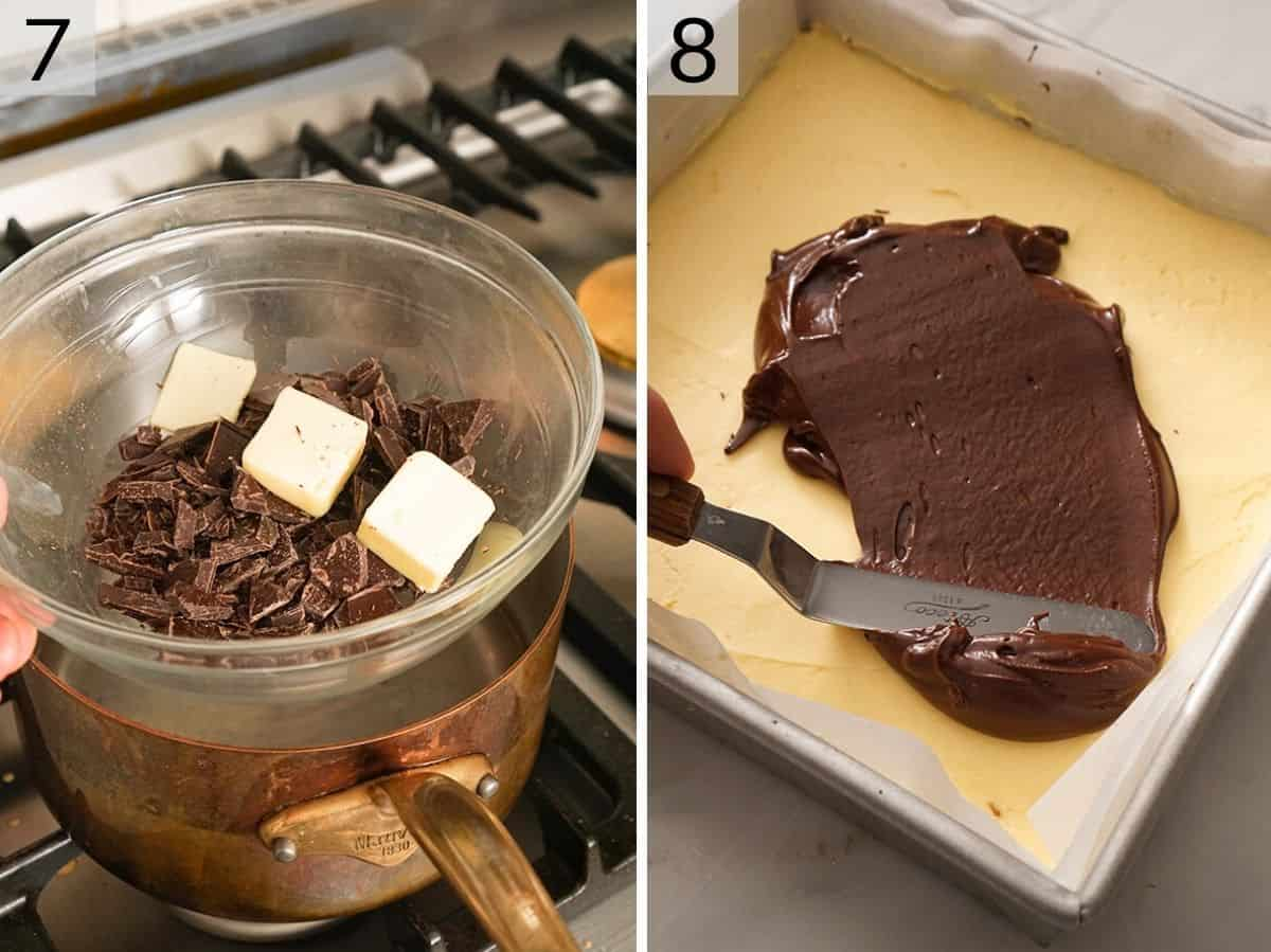 Two photos showing how to melt chocolate for the top layer of Nanaimo bars