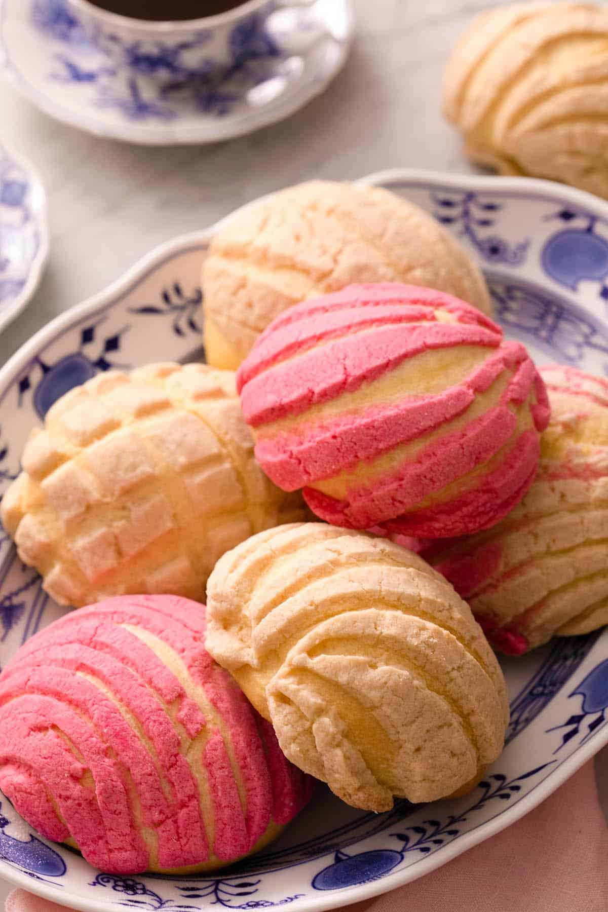 A close up of pan dulce on a plate