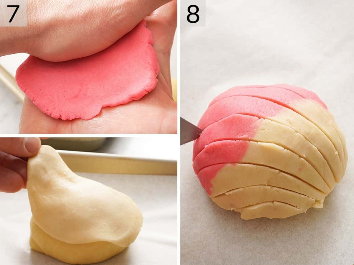 Two photos showing how to cover the Pan Dulce with colorful dough and score it to make patterns