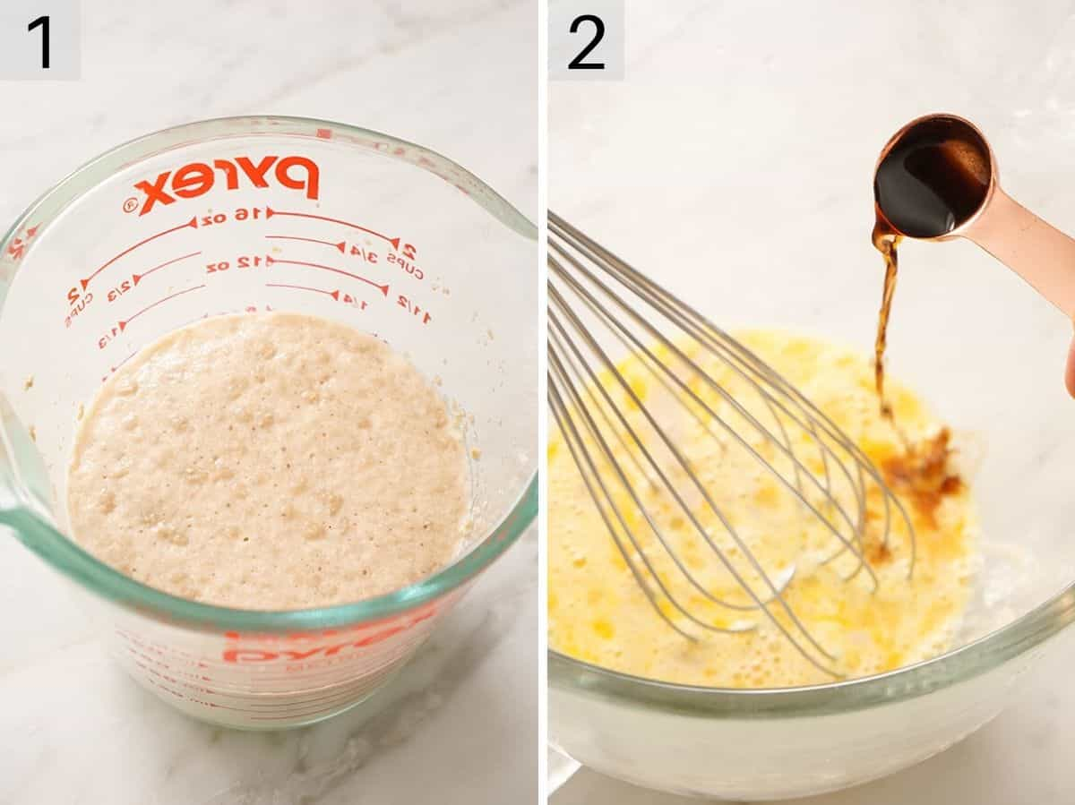 Yeast gettng activated in warm milk and another photo showing vanilla getting added to whisked eggs and sugar